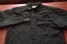 Men's L.L.BEAN Long Sleeve Button Front Green Flannel Shirt Medium M Field Work