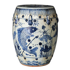 Vintage Style Blue and White Porcelain Garden Stool Fish Koi Motif Hand Painted