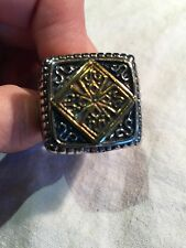 Vintage 1980's Large Silver Gold Stainless Steel Cross Crest Size 13 Men's Ring
