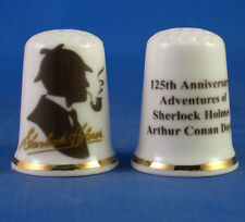 Birchcroft China Thimble -- Sherlock Holmes 125th Anniversary - Free Dome Box