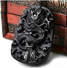 100% Natural Black Obsidian Hand Carved Dragon Blessing Lucky Pendant Necklace