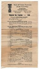 1939 MEMORIAL DAY PROGRAM Sons Union Veterans Civil War SUVCW Rhode Island RI