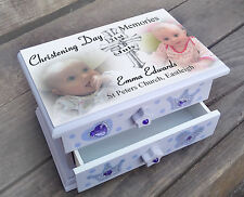 Personalised musical jewellery box, Christening day memories present gift
