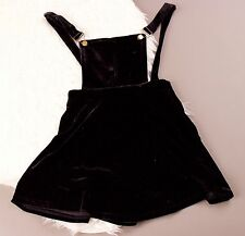 Charms Fashion black velvet style jumper overalls skirt dress small grunge