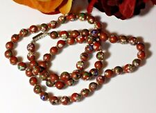 "Vintage Cloisonne Red Rust Petit Hand Knotted Bead Necklace 27"" Original Clasp"