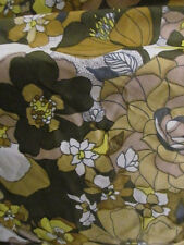 """Vintage 1970s Fabric Remnant - Yellow and Green Floral - 36""""Wide x 2 3/8Yd Long"""