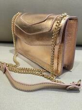 Amazing Rose Gold 100% Italian Leather Clutch Bag Ladies Chain Strap Prom Purse