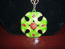 """Vintage 1960s Mode Art Signed Pendant on 24"""" Gold Color Chain"""
