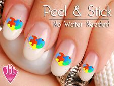 Autism Awareness Ribbon Puzzle Heart Nail Art Decal Sticker Set AUT155