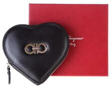 NEW SALVATORE FERRAGAMO BLACK TEXTURED LEATHER GANCIO HEART COIN WALLET
