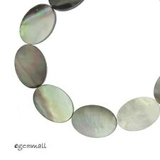 "16"" Black White Mother of Pearl Shell Flat Oval Beads 12x16mm #75137"