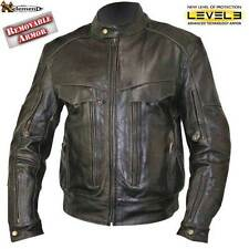 Retro Brown Bandit Buffalo Leather Cruiser Motorcycle Jacket size M