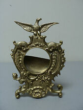 19th C. ANTIQUE AMERICAN BRASS POCKET WATCH HOLDER / DISPLAY STAND with EAGLE