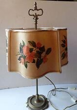 ANCIENNE LAMPE BOUILLOTTE  BRONZE LAITON ABAT-JOUR  CARTON PEINT ANNEE 60