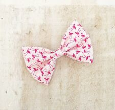 "White with pink flamingo print 4"" Pin up hair bow clip"