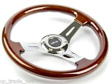 NRG Wood Grain Steering Wheel Chrome Center 3 Spoke ST-015CH