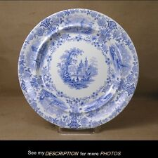 """Antique W.R.&Co. Ridgway Marmora 10-1/4"""" Blue on White Plate Staffordshire"""