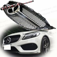 C63 Look 1 Fin Front Vent Grille Fit 2015 On W205 BENZ New C Sport Sedan C250 4D