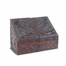 Chinese Ornately Carved Wood Stationary Box Dragons