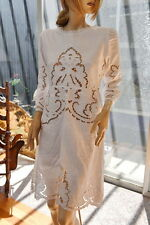 LIM'S BEAUTIFUL HAND EMBROIDERY AND CUTWORK BUTTONS BACK DRESS WHITE