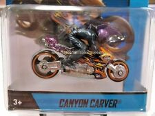 2014 Hot Wheels Canyon Carver Motorcycle in Purple w/ Flames & Rider