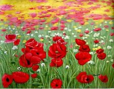 "Floral & Gardens Oil Painting - Tuscany poppies- size 36""x28"""