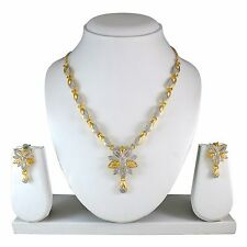 Indian Bollywood Style Fashion 2 Tone Plated Necklace Earrings jewelry set