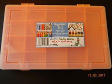 Orange Plastic Storage Organiser WHAM Compartment Craft Beads Jewellery Box Case