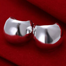 Solid Silver Jewelry Smooth Wide Big Belly Men Women Hoop Earrings EP052