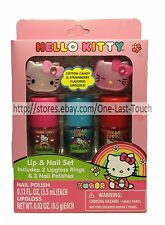 HELLO KITTY 5pc Lip & Nail Set LIPGLOSS RINGS+POLISH Glitter Colors SANRIO New!