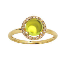 14K YELLOW GOLD PAVE DIAMOND ROUND GREEN PERIDOT HALO COCKTAIL ENGAGEMENT RING