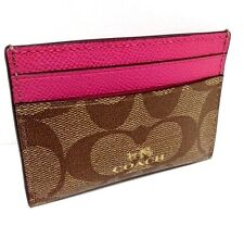 COACH Credit Card Case Business ID Signature PVC Authentic Pink Khaki 89532