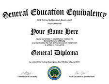 $9.95 - PDF File - GED High School Diploma Certificate Novelty? Real?Not Fake?