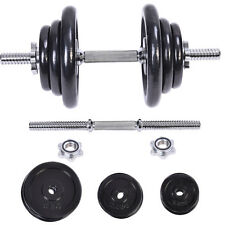 44 LB Weight Dumbbell Set Adjustable Cap Gym Barbell Body Workout Iron Plates