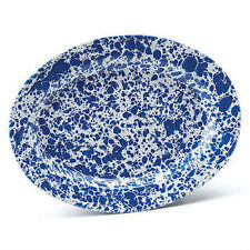 Crow Canyon Home Enamelware Oval Buffet Plate Blue Marble D94