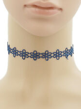 Celebrity Trend Floral Blue Flower Crochet Lace Choker Necklace Edgy Collar Gold