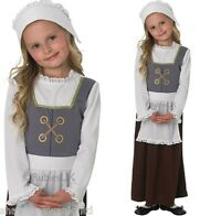 Girls Tudor Victorian Poor Peasant Maid Girl Book Day Fancy Dress Costume Outfit