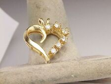 Diamond Heart 14k Yellow Gold  Estate Charm Necklace Pendant .48 ct