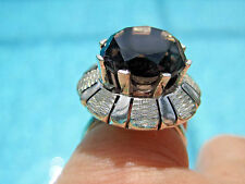 Vintage Taxco Mexico Smokey Brown Quartz Crystal Ring Sterling Silver