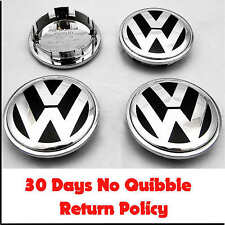VW VOLKSWAGEN ALLOY WHEEL CHROME CENTER CAPS x4 65mm BADGE PASSAT POLO GOLF BORA