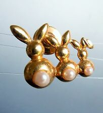 AVON signed three Bunnies gold plated faux pearl pin BROOCH