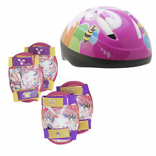 Girls Childs Kids Safety Helmet & Knee & Elbow Pad Set Cycling Skate Bike age 5+