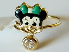 18k Solid Gold & Enamel Minnie Mouse Adjustable Ring 1.4 grams-