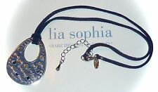 "NEW DEMO - LIA SOPHIA ""PARA DISCO"" NECKLACE - BLUE ENAMEL & CRYSTALS - 2008/$44"