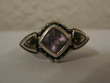 Vintage Possibly Deco Sterling Silver Ring w/ Purple & Yellow Crystal or Stone