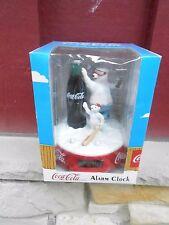 1997 Coca-Cola Coke Polar Bear and Cub Alarm Clock Battery Operated (S10)