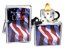 Zippo Lighter 24797 Made In Usa Flag Brushed Chrome Windproof Classic NEW