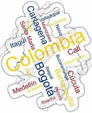 "Colombia Bogota Cali Country Map Word Cloud Bumper Vinyl Sticker Decal 4""X5"""