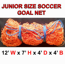 ONE BRAND NEW JUNIOR SIZE 12' x 7' x 4' x 4' SOCCER GOAL NET NETTING CAMP NET