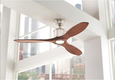 "Quiet Wood Blades 52"" Sleek Ceiling Fan w/ Modern LED Light Fixture & Remote"